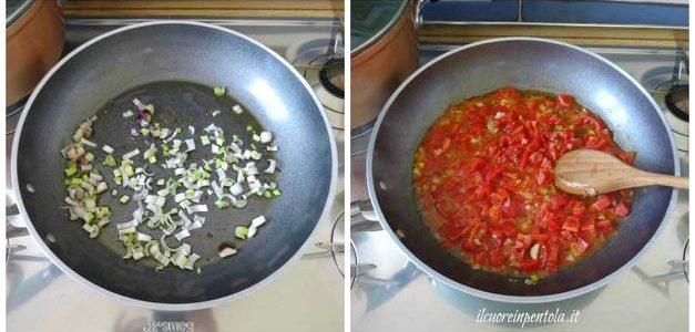 fare soffritto e aggiungere pomodori